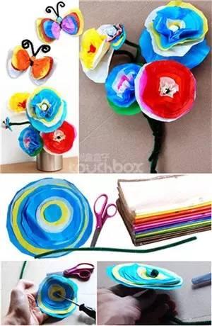 做法1:使用皱纹纸或者薄一点的纸,再配合绒铁丝,美丽的花与蝴蝶就做
