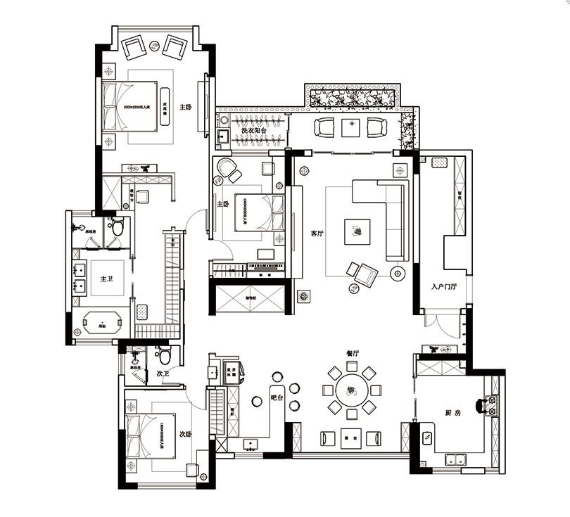 瀚海晴宇装修238平四室两厅现代设计案例——平面户型方案图片