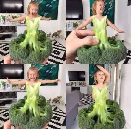 用蔬菜水果借位给女儿拍照,这位妈妈有点厉害