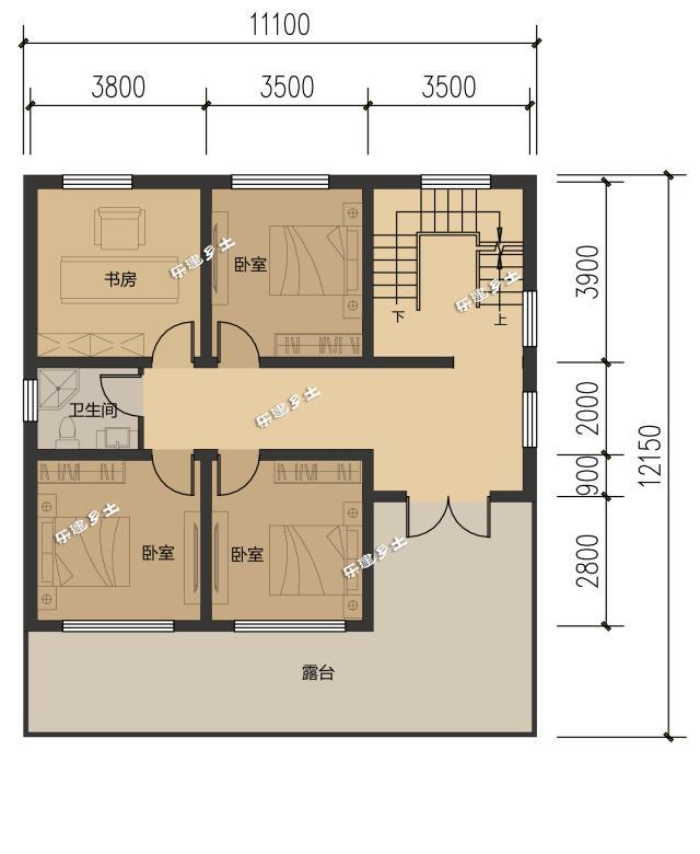 房产 正文  ▲ 二层平面图 三层同样有三个卧室,露天阳台取缔了起居室图片