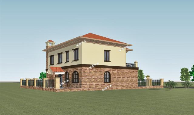 二层欧式自建别墅,基地15x13米,带庭院车库图片