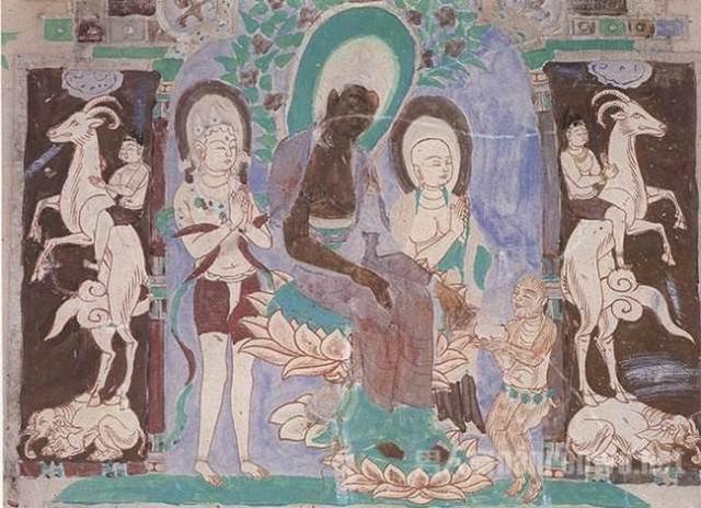 当猴子用水把蜂窝洗干净后,再献与佛祖时,佛祖收下了这个钵.图片