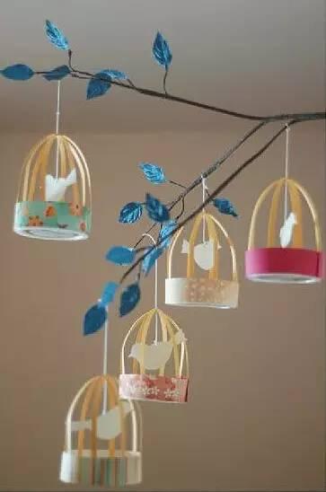创意diy手工鸟笼风铃 幼儿园吊饰不能光有花草,我们还可以来制作鸟笼