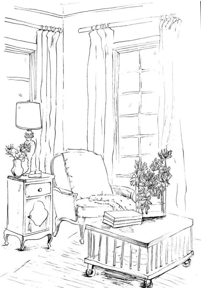 手绘|设计意向图——室内家居陈设元素快速表现篇