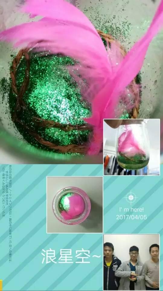 本次我们的vmp作品主要由星空粉,水晶滴胶和塑料花组成,绿色的粉末和图片