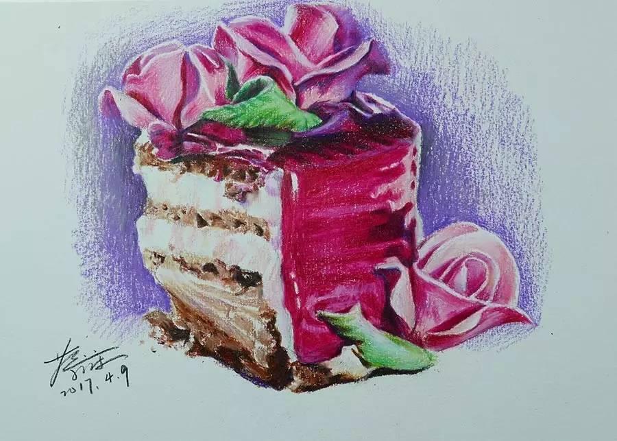 彩铅画:玫瑰蛋糕