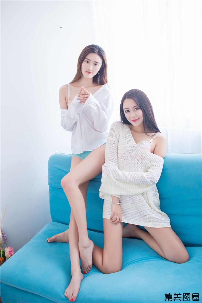365美女人体艺术_小清新美女格格污巫姐妹花私房沙发写真照