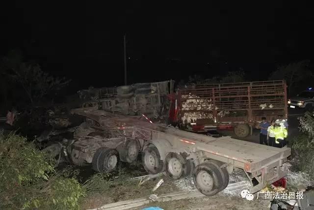 昨晚,一钦州籍货车在南宁绕城高速发生严重车祸,事故造成10死1伤