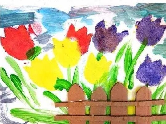 幼儿园亲子手工之美术创意 拓印 水粉画简单涂鸦