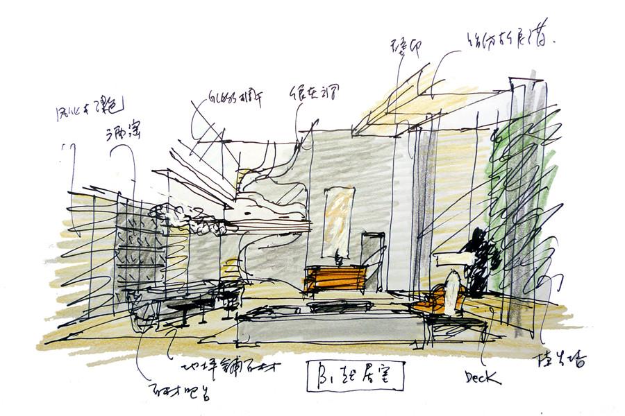 b1起居室手绘图