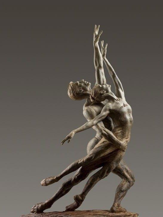 芭蕾舞天鹅湖王子与天鹅白铜人体雕塑