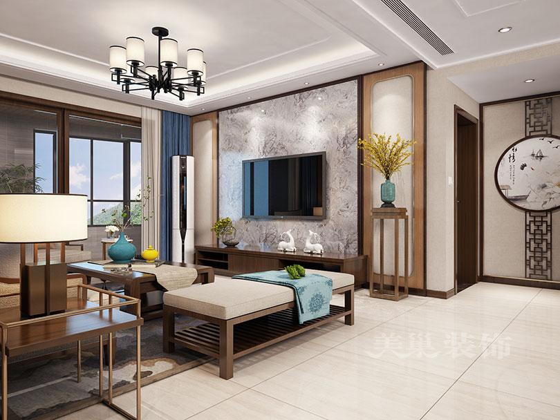 锦艺金水湾130平三室两厅新中式装修样板间——电视背景墙效果图图片