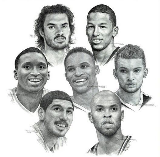 精美的NBA球队素描图,让人们看到了球迷的热爱!