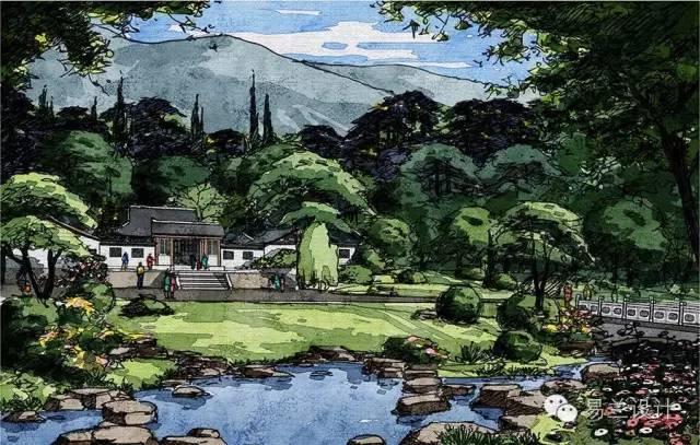 公园景色马克笔手绘图