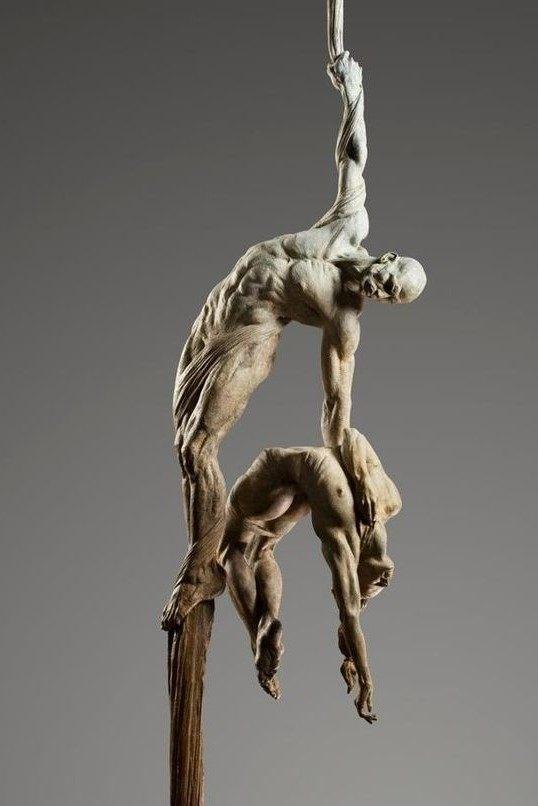 国外男人与女人白铜人体雕塑