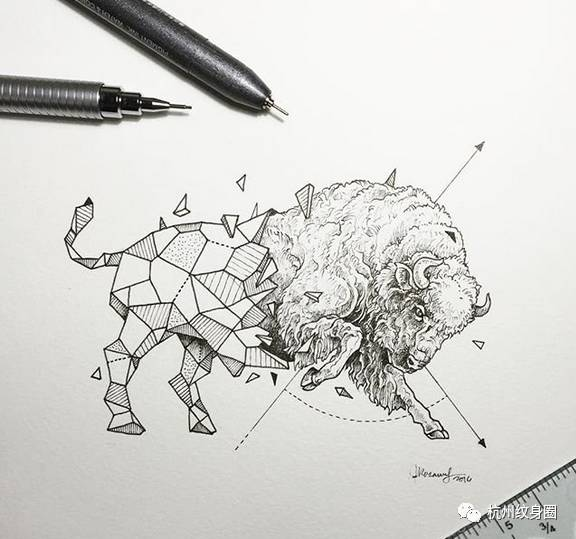 tattoo | 手绘几何纹身手稿