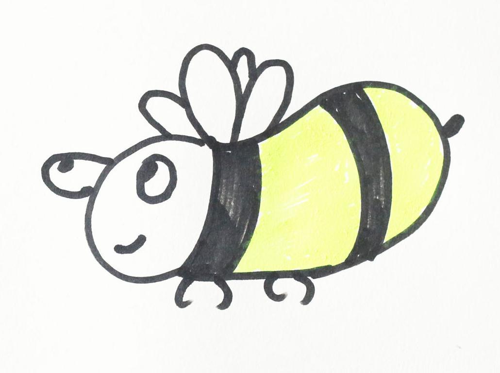 !分享小蜜蜂的简笔画画法,手绘 淘趣工坊出品,小爱的手作日记,