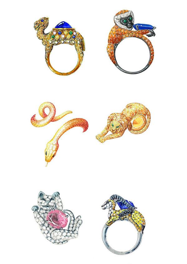 精美绝伦的珠宝首饰设计,不一般的素描彩铅手绘.