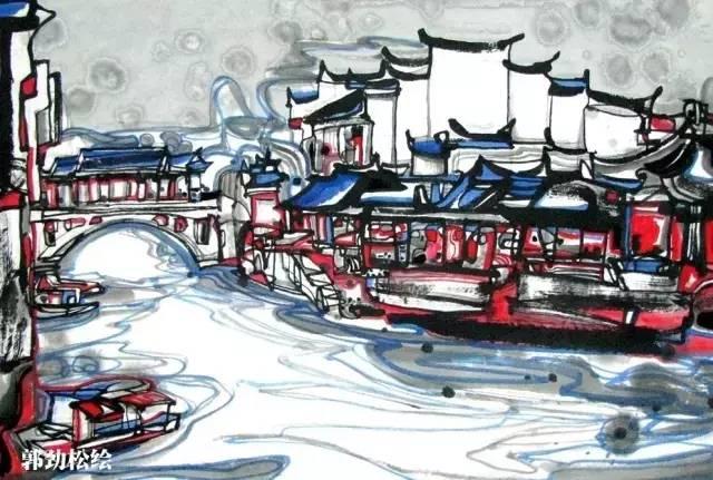 手绘风景画安徽古镇