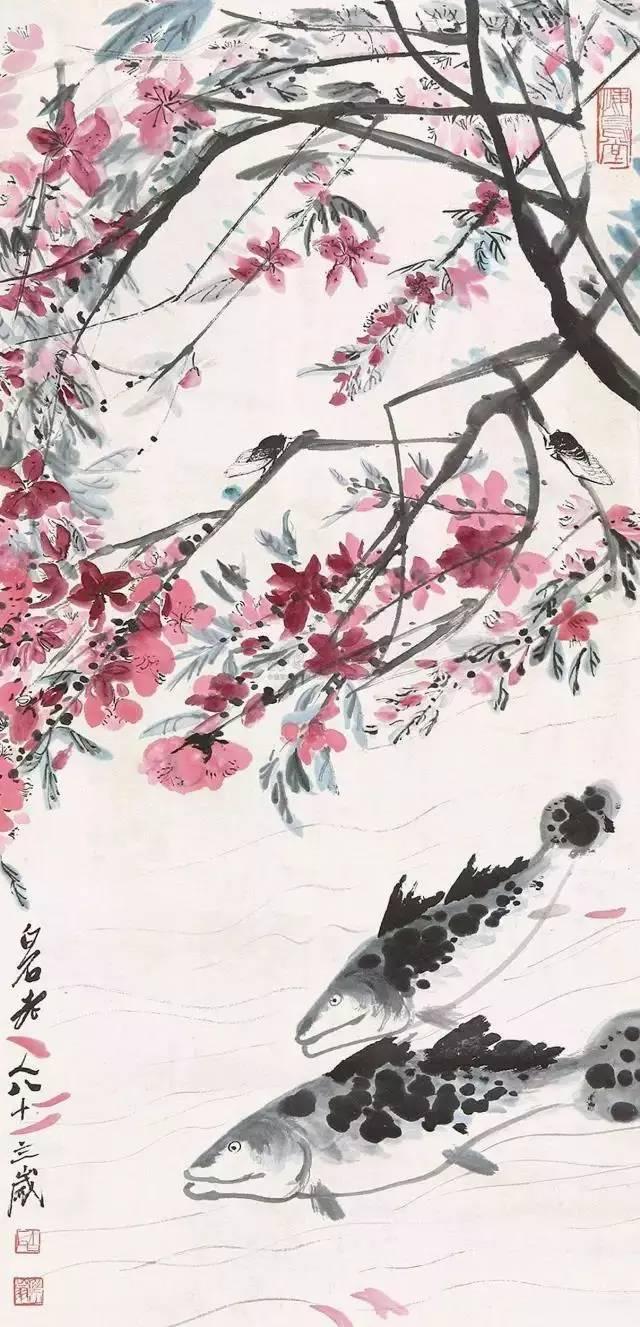 齐白石罕见桃花画作欣赏图片