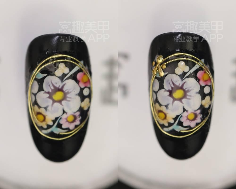 【窝趣美甲视频教程】手绘宝石淡彩花