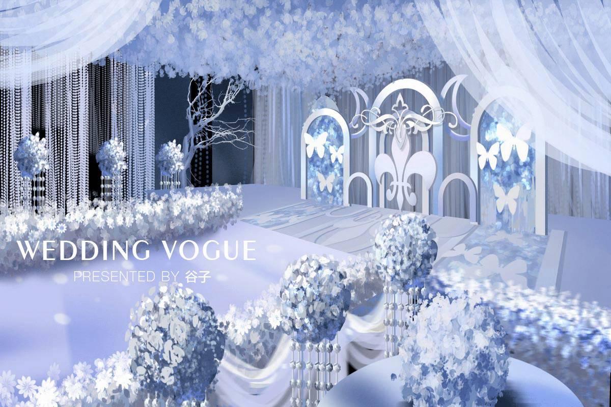 【成都】二点透视白色主题婚礼 | 谷子手绘作品