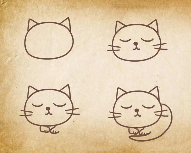 9种猫咪简笔画画法,一个比一个萌,学来教宝宝