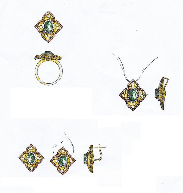 精美绝伦的珠宝首饰设计,不一般的素描彩铅手绘.图片