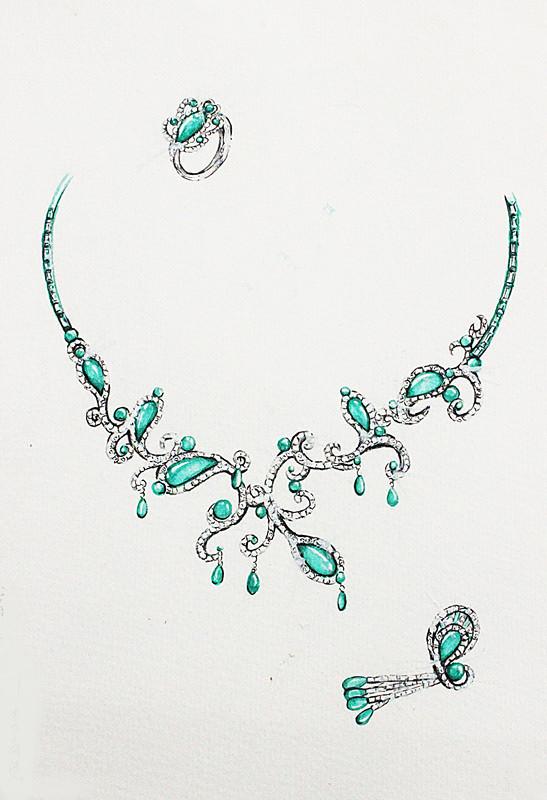 珠宝设计手绘,不一般的素描彩铅手绘图片