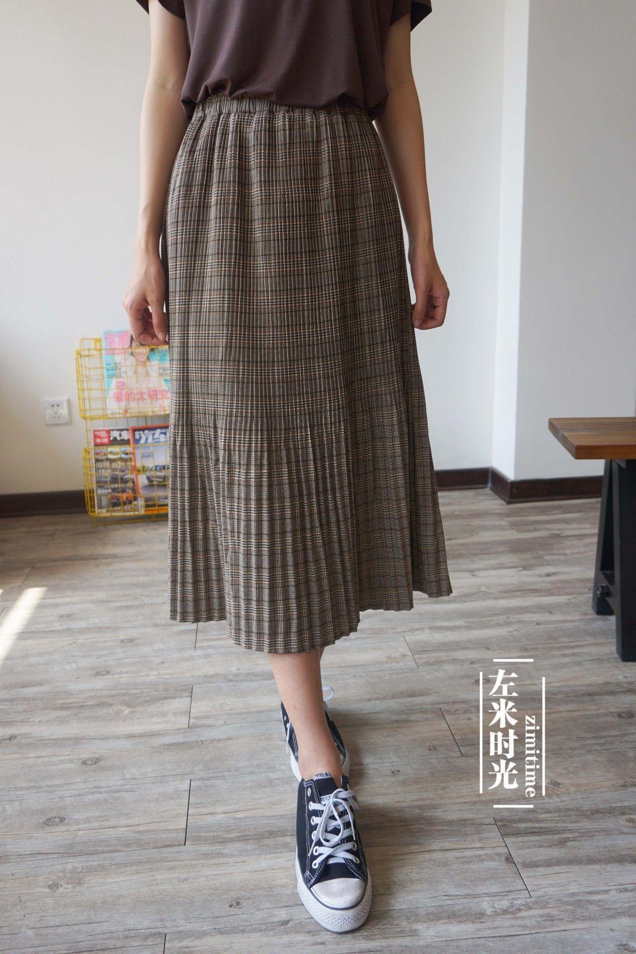 宽松格子半身裙