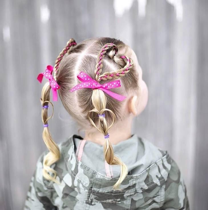 儿童心形编发!有女儿就照着这些发型打扮!