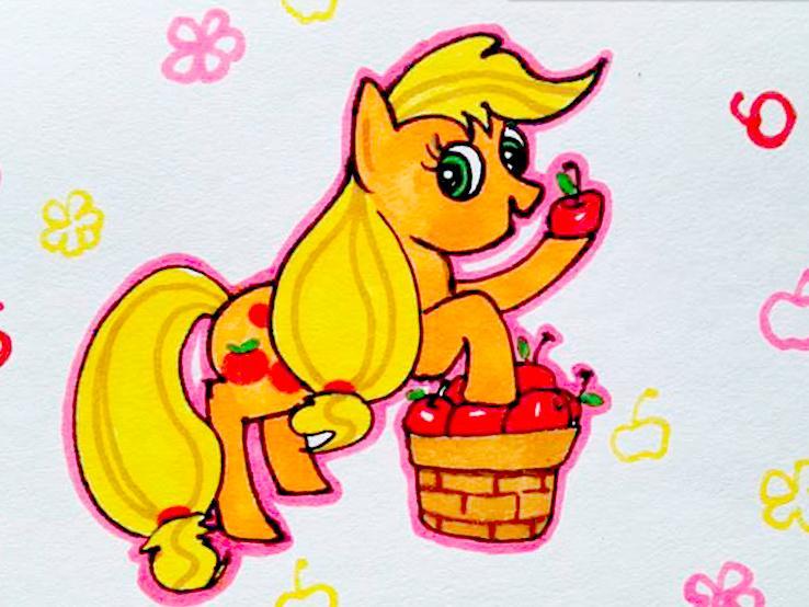 小马宝莉动画片可爱的苹果嘉儿卡通画儿童画简笔画