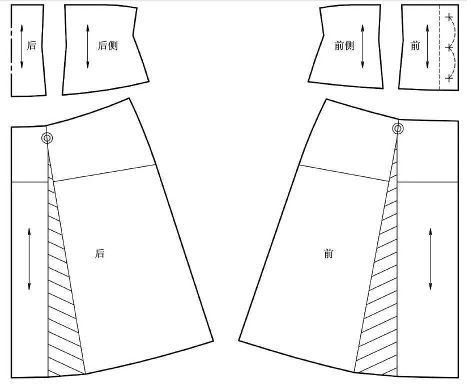 制图说明 (1)该裙是横向育克分割加高腰设计,是A 字裙的变化形式。 (2)依据人体形态,从腰节以上逐渐加大围度,为此育克中的省处理成菱形,侧腰线向外倾斜0.7cm。 (3)前片省的位置在腰围1/2 处;后片省的位置在腰围1/3 处。 (4)横向分割线以下,残留省转化为裙摆量。 (5)修正育克上边线与侧腰线成直角。