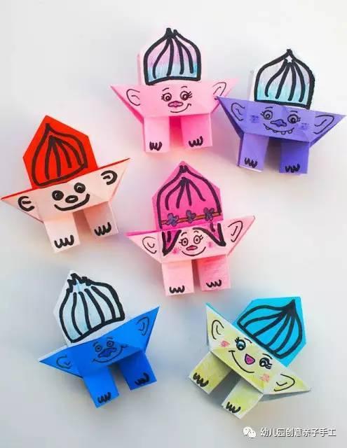 幼儿园手工之折纸小人偶,折几个便能愉快玩上一天图片