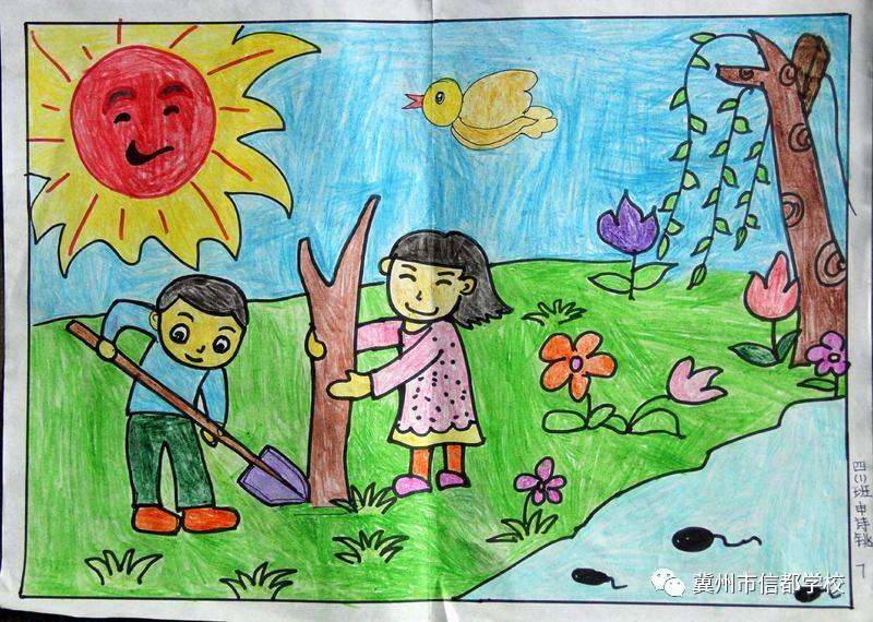 中的春天 信都小学A部三四年级绘画比赛图片