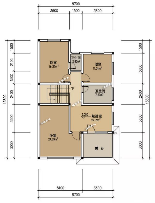 8.7米开间经济实用的小户型别墅设计