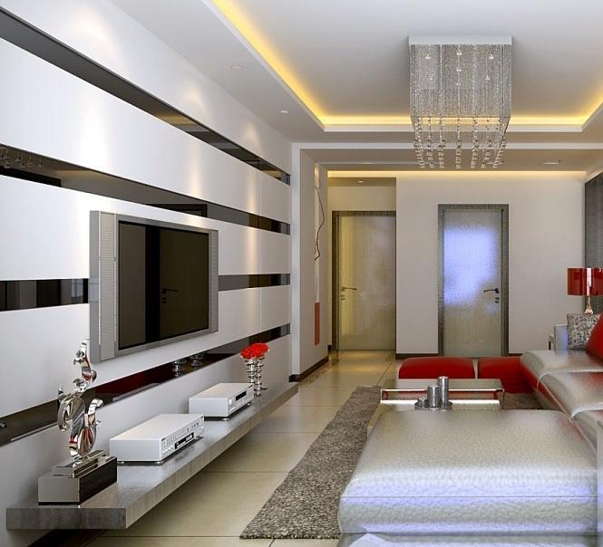 简约风格客厅电视墙背景墙装修效果图