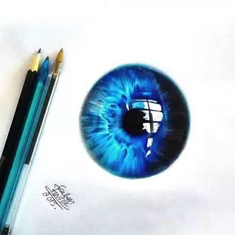 插画 用圆珠笔画的眼睛,好漂亮