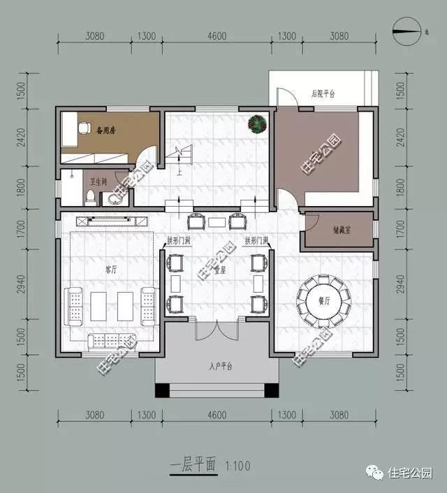 广东农村别墅三层半户型,坐西朝东带堂屋含平面图