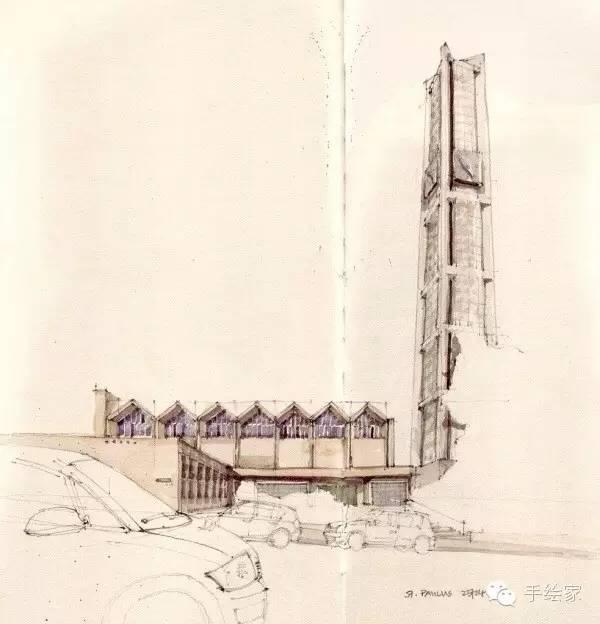 今天推荐一些很优秀的建筑手绘稿,时间跨度很大,有些是一百多年前