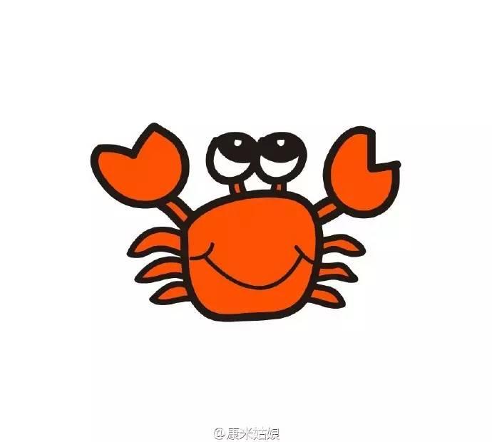 简单的螃蟹简笔画画法螃蟹怎么画螃蟹卡通画手绘教程 才艺君