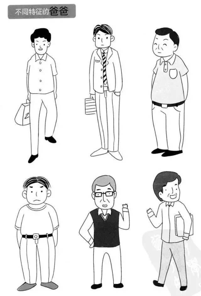 简笔画:教孩子辨识家庭成员不同的人物特征