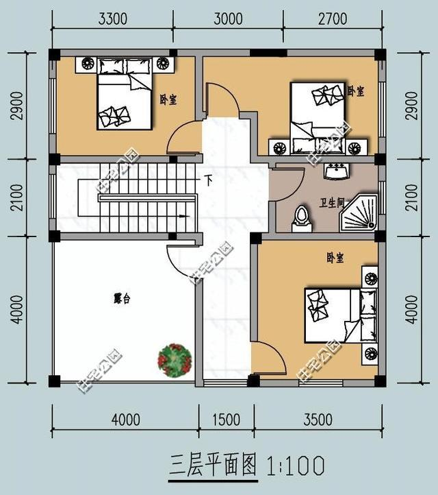 农村3层自建房户型,9米x9米挑空客厅,含平面图