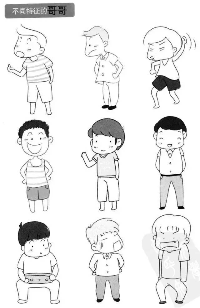 简笔画 教孩子辨识家庭成员不同的人物特征