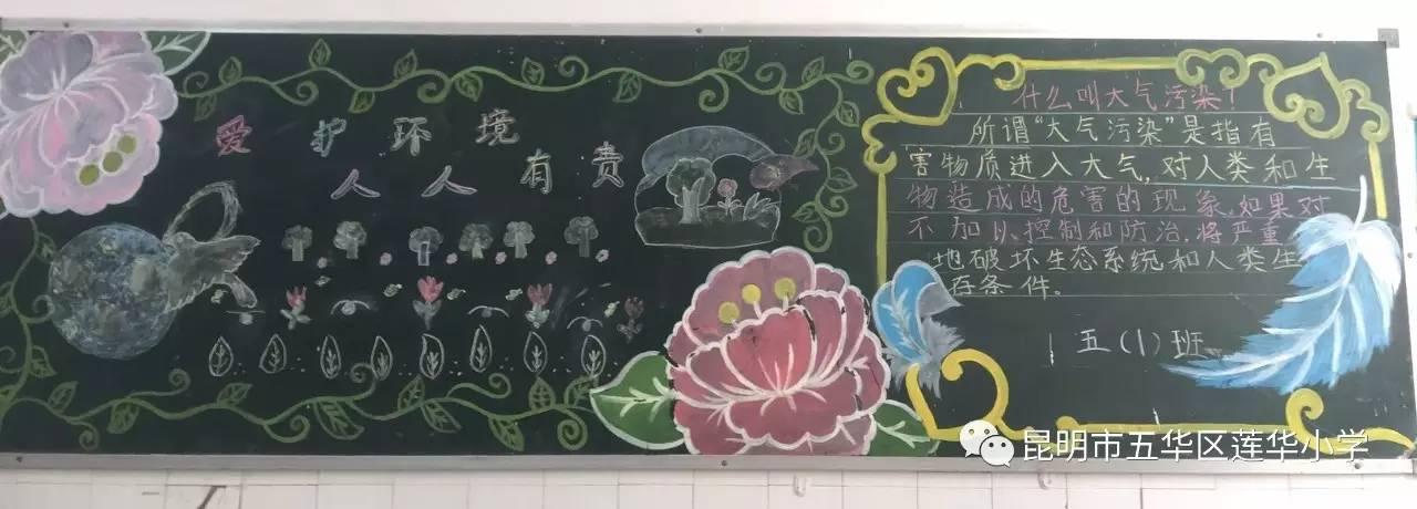 """【创建文明学校】莲华小学开展""""文明·环保""""黑板报评比图片"""