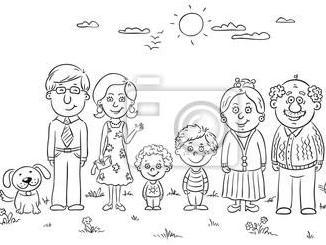 简笔画:教孩子辨识家庭成员不同的人物特征图片