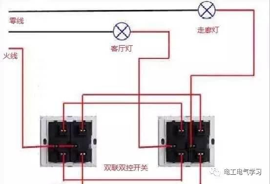 双联双控开关接线图 同样多联多控的风下图: 2,有三根线的火线零线和