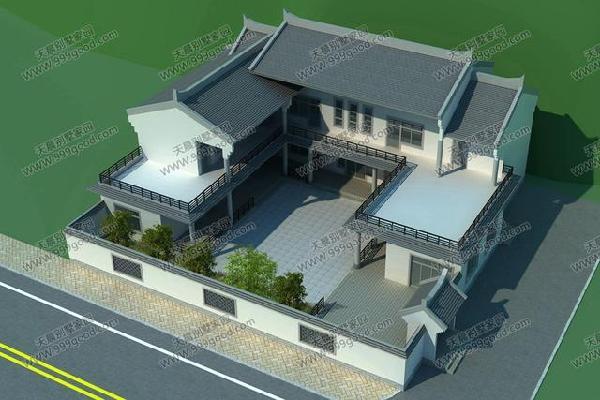 农村中式别墅设计图,21.3X18米三合院,古韵十足