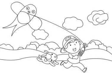 放风筝简笔画-小画家,绘梦想,放飞春末图片