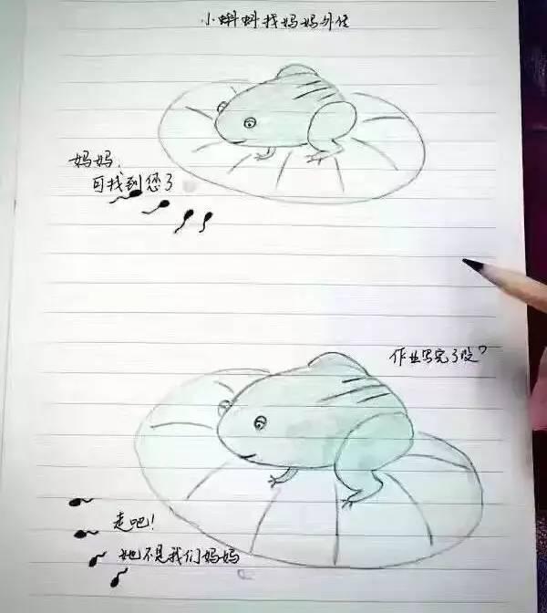 一组手绘漫画刷爆朋友圈, 青蛙母子忙哭了, 简直被玩坏!